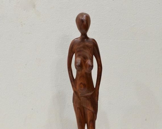 African Statue Ebony Wood Carved Female Figure
