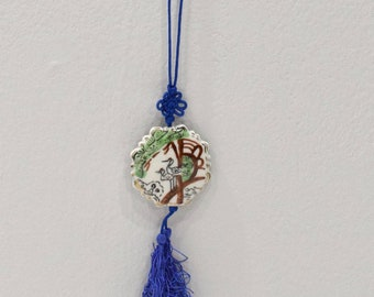 """Necklace Chinese Painted Bird Porcelain Pendant 40"""""""