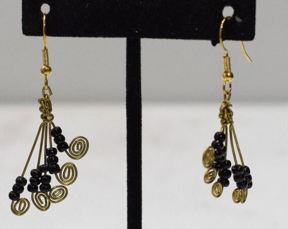 Earrings African Brass Coiled Fan Earrings