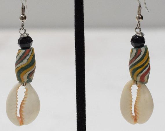 Earrings African Cowie Shell Glass Earrings