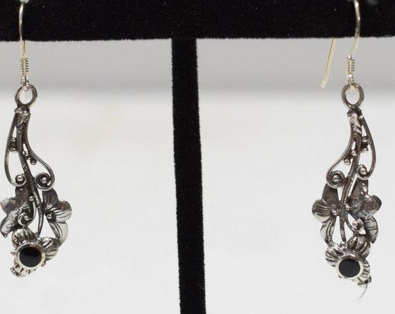 Earrings Sterling Silver Onyx Leaf Drop Earrings