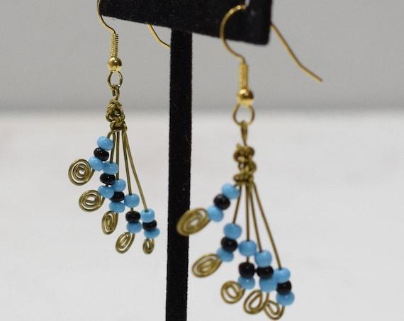 Earrings African Brass Turquoise Fan Earrings