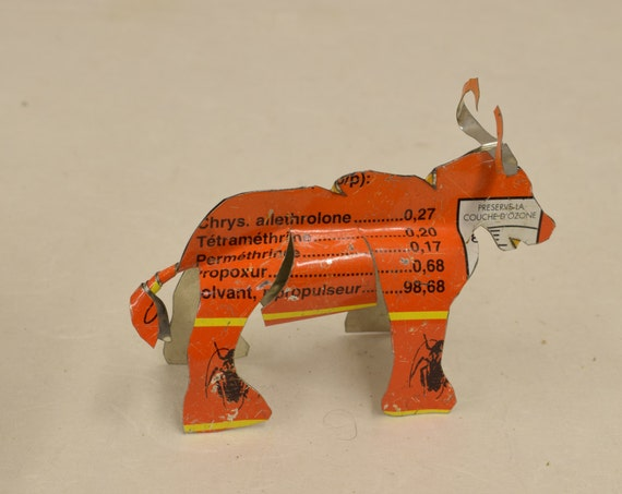Toy Long Horn Cow African Recycle Orange Gold Yellow Tin Can Tanzania Handmade Vintage Toy Cow Animals Recycled Tin Unique One of a Kind