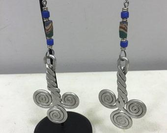 Earrings African Large Aluminum  Twisted Coiled Yellow Sandcast Bead Masai Earrings Handmade Aluminum Women Earrings Unique Tribal E77
