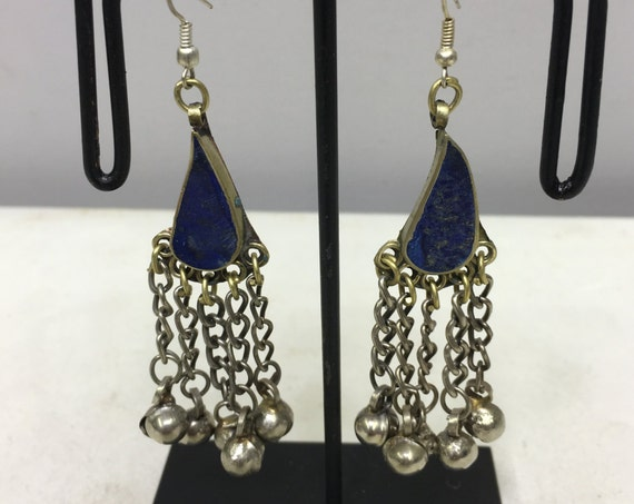 Earrings Silver Middle Eastern Lapis  Dangle Silver Bells Handmade Silver Lapis Earrings Belly Dance Bell Dangle Unique E169