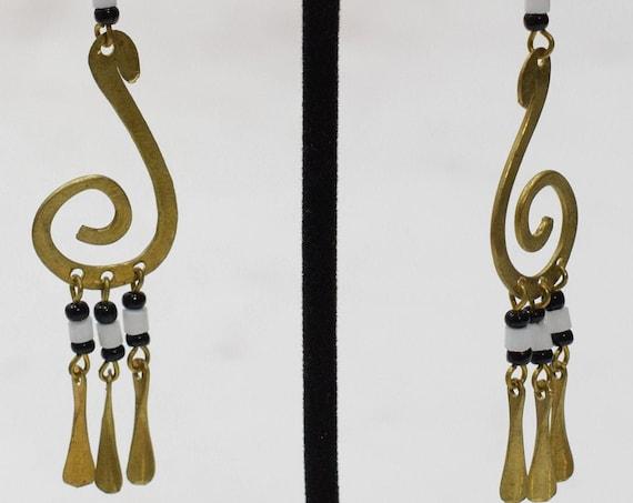 Earrings African Brass Scroll White Earrings