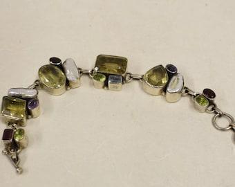 Bracelet Sterling Silver Citrine Amethyst Pearls Peridot Aquamarine  Bracelet