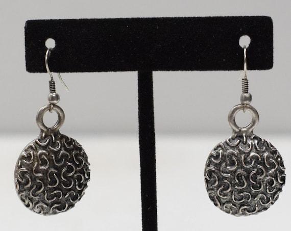Earrings Turkish Pewter Textured Round Earrings