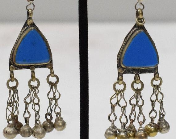 Earrings Afghanistan Blue Silver Bell Earrings