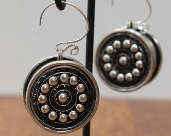 Earrings Silver Miao /Hmong Etched Round Box Earrings