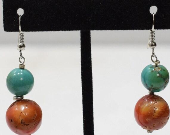 Earrings Coral Turquoise Dangle Earrings