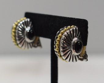 Earrings Gold Silver Onyx Clip Earrings