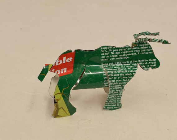 Toy Long Horn Cow African Recycle Green and Yellow Tin Can Tanzania Handmade Vintage Toy Cow Animals Recycled Tin Unique One of a Kind