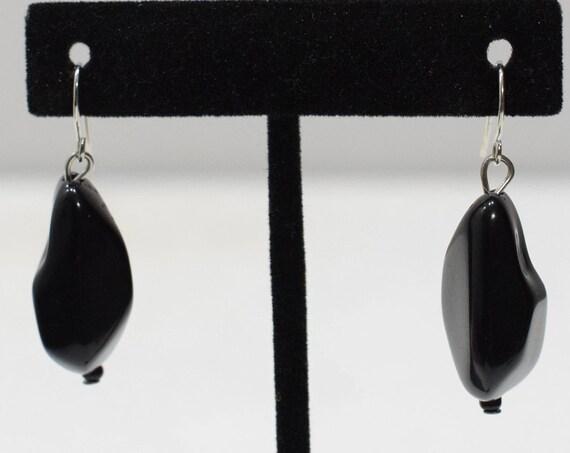 Earrings Black Plastic Dangle Earrings