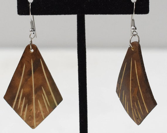 Earrings Etched Coconut Dangle Earrings