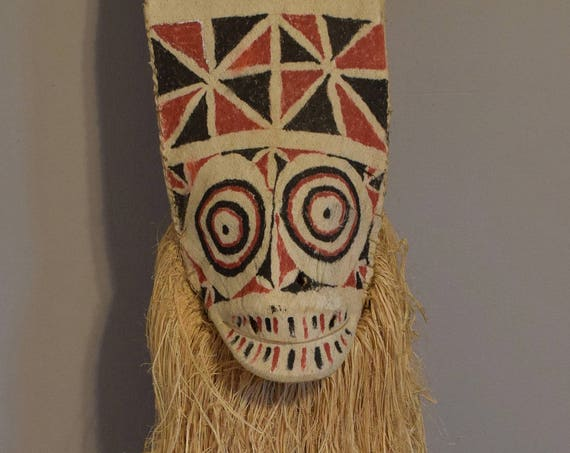 Papua New Guinea Mask Baining Female Day Dance Bark Cloth Ceremonial Mask 63""