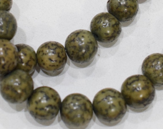 Beads Philippine Olive Green Betel Nut Beads 10-11mm