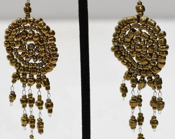 Earrings Bronze Circle Beaded Earrings