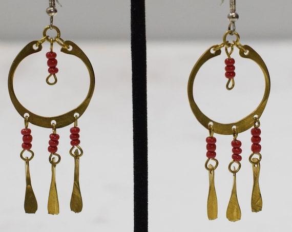 Earrings African Brass Red Hoop Earrings