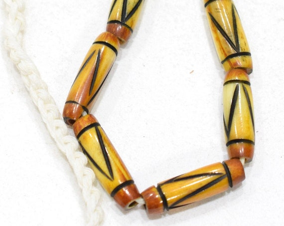 Beads Indonesian Thin Yellow Black Bone Tubes 20-21mm