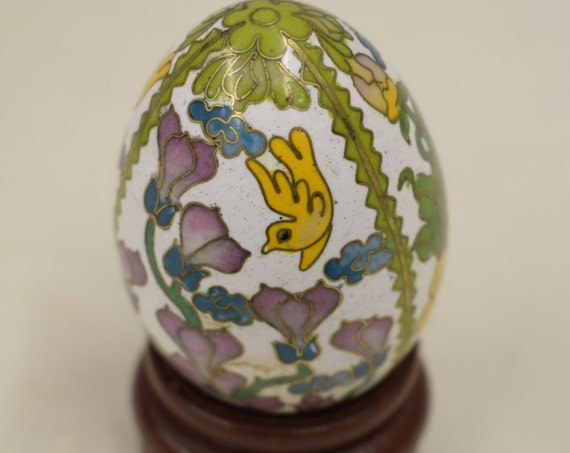 Egg Enameled Floral Teak Wood Stand China Handmade Decorative Yellow Pink Flowers Vines Birds  Egg