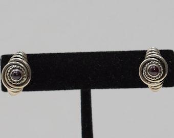 Earrings Sterling Silver Garnet Post Earrings
