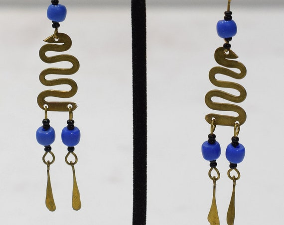Earrings African Brass Coil Blue Bead Earrings