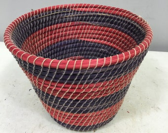 Basket African Lesotho Red Purple Woven South Africa