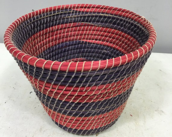 Basket African Lesotho Red Purple Woven South Africa Handmade Hand Woven Coiled Woman Unique SM8