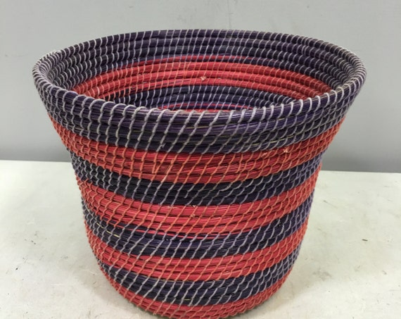 Basket African Lesotho Red Purple Woven South Africa Handmade Hand Woven Coiled Woman Unique SM2