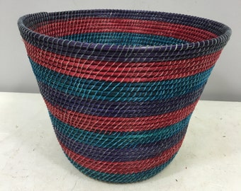 Basket African Lesotho Red Turquoise Purple Woven South Africa Handmade Hand Woven Coiled Woman Unique SM10