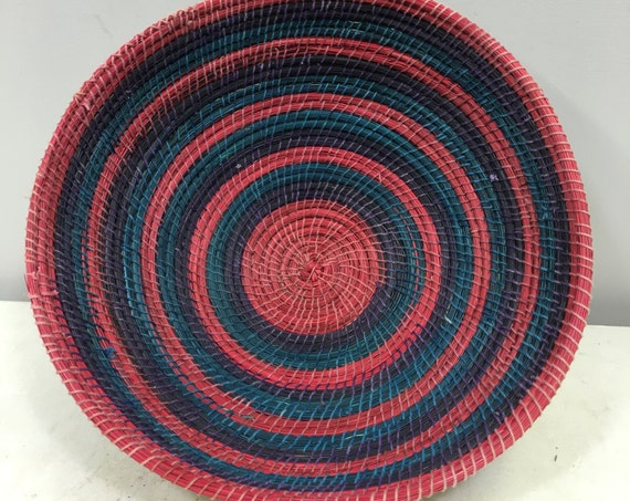 Basket African Lesotho Red Blue Purple Woven South Africa Handmade Hand Woven Coiled Woman Unique SM6