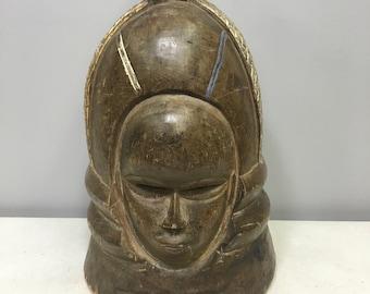 Mask African Carved Wood Mende Helmet Mask