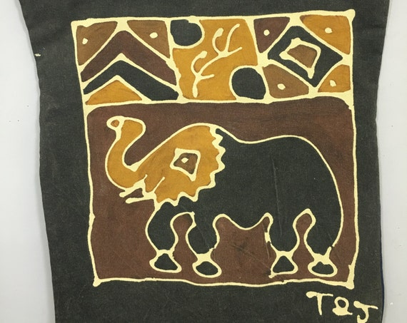 Pillowcase Elephant African Hand Batik African Zimbabwe Handmade Elephant Hand Batik Cotton Yellow Brown Black Design Couch Bed Unique