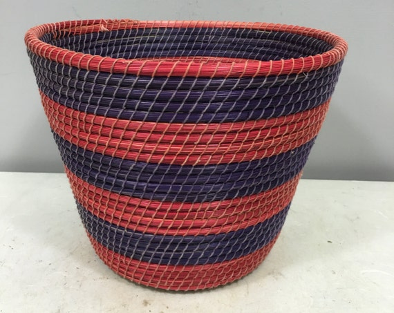Basket African Lesotho Red Purple Woven South Africa Handmade Hand Woven Coiled Woman Unique SM5