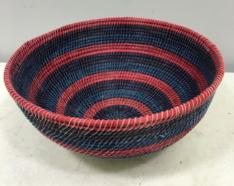 Basket African Lesotho Red Blue Woven South Africa Handmade Hand Woven Coiled Woman Unique SM3