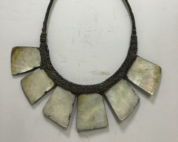 Necklace Philippine Ifugao Tribal Shell Necklace Rattan Handmade Tribal Jewelry Necklace Women Shell Status Unique