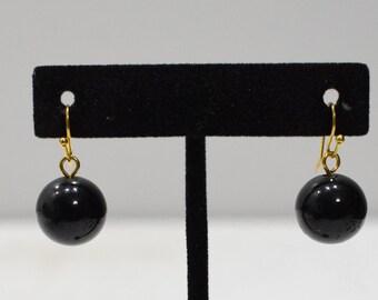 Earrings Large Black Glass Earrings