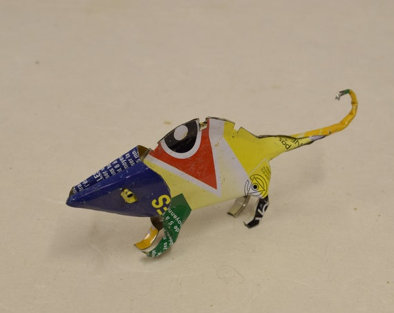Toy Chameleon African Recycle Purple Yellow Tin Can Tanzania Handmade Vintage Toy Chameleon Animals Recycled Tin Unique One of a Kind