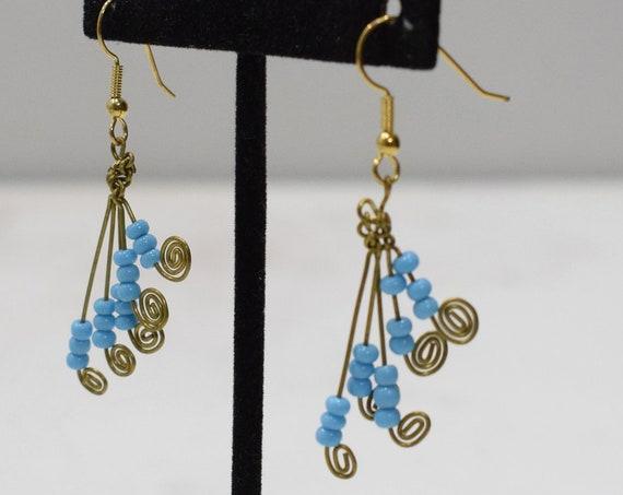 Earrings African Brass Blue Fan Earrings