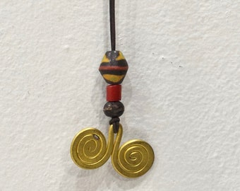 Necklace African Brass Coil Glass Cord Necklace