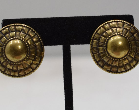 Earrings Gold Etched Bead Clip Earrings