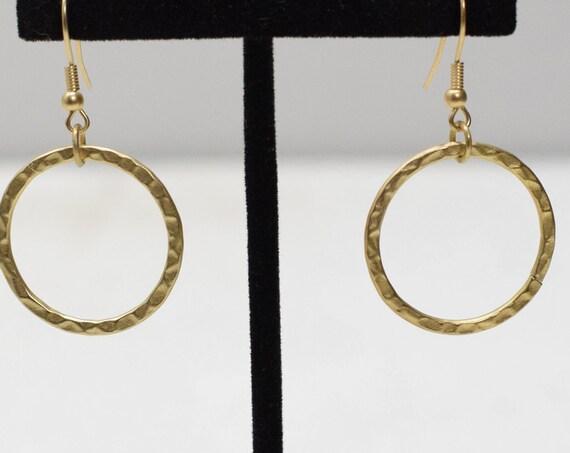 Earrings Hammered Gold Hoop Earrings