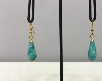 Earrings Tibetan Teardrop Blue/Green Amazonite Dangle Handmade Gold Wire Blue/Green Amazonite Stone Unique E139