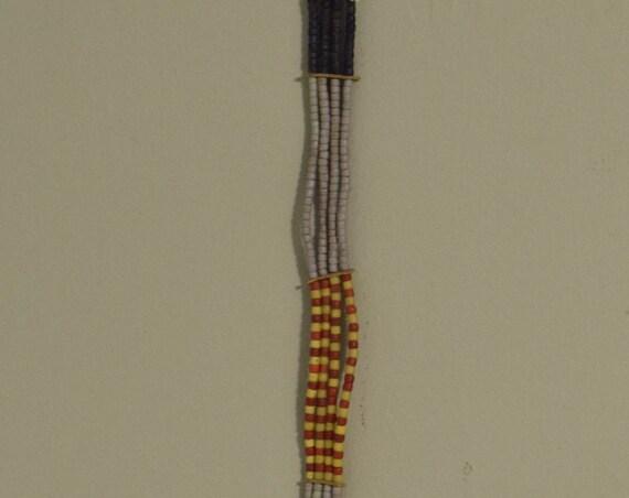 African Belt Vintage Pokot Beaded Yellow Red White Blue Belt Kenya Handmade Tribal Status Ceremonial  Womans Beaded Belt