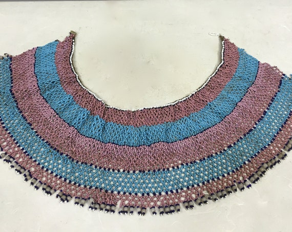 African Collar Xhosa Beaded Pink Blue Collar Handmade Necklace Jewelry Pink Blue Beads Ceremonies  Men Women Purity Collar