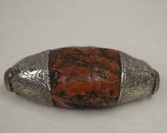 Bead Tibetan Coral Sterling Silver Bead or Pendant