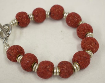 Bracelet Sponge Coral Dyed Red Round Beads Silver Bracelet