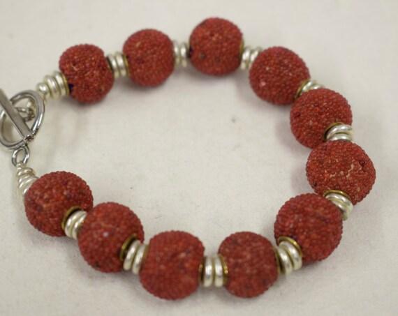 Bracelet Sponge Coral Dyed Red Round Beads Silver Handmade Bracelet Jewelry Sponge Coral Red Beads Vintage Unique