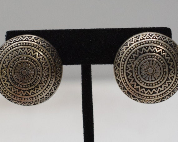 Earrings Silver Tribal Style Clip Earrings